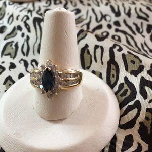 Jewelry - Sapphire, Diamond & 14 Karat Yellow Gold Ring
